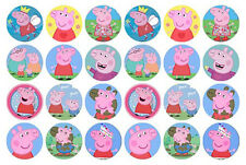 24 PEPPA PIG EDIBLE MINI WAFER PAPER CUPCAKE CUP CAKE DECORATION IMAGE TOPPERS