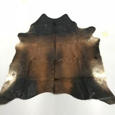 Real Cow skin Cowhide Area Rug Throw Dark Brown Spotted Cow Carpet