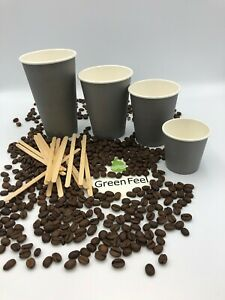 8oz Disposable Grey Paper Cups 500pcs For Hot And Cold Drinks Great For Coffee