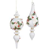"Set/2 9"" RAZ White Holly Leaf Finial Christmas Tree Ornaments Vntg Style Decor"