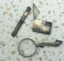 Lot of 3 Antique Sterling Silver Sewing Needle Cases, Magnifying Glass, Small