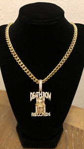 DEATH ROW RECORDS X KING ICE 925 STERLING SILVER ICED NECKLACE Original BOX 2pac