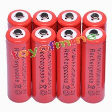8x AA 2A 3000mAh 1.2V Ni-Mh Red Color Rechargeable Battery Alarm Clock MP3 RC