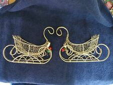 Christmas SET OF 2  SLEIGH METAL WIRE HEAVY STURDY GOLD/BELLS CENTERPIECES
