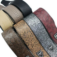 Adjustable Leather Guitar Strap Embossed for Acoustic Electric Guitar Bass UK