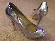 Next Peep toe High Heeled Platform Sandals Shoes Silver Uk 6 EU 39 VGC !