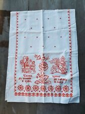 Cotton Runner with Russian Folk Art Design in Red and White