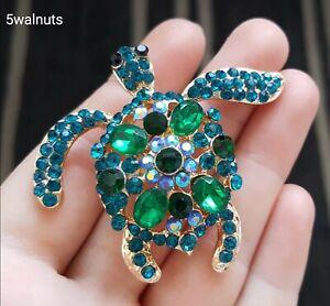 Vintage Style Sea Turtle Tortoise Green Crystals Brooch Pin Animal Broach Gift