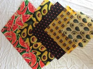 A set of 5 Beeswax food wraps 40/30/25/20/15 cm square c/w postage
