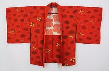 羽織 Haori japanese - Jacket Japanese - Red Orange and Leaves 1458