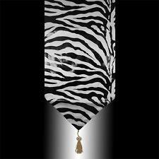 Fashion White Velvet Black Zebra Print Decorative Wedding Table Runner Cloth