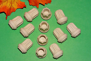"""(12) NEW 1/2"""" WHITE RUBBER CANE TIPS FOR WALKERS, CRUTCHES, WALKING STICKS, ETC."""