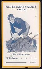 1932 Notre Dame Varsity Football Tom Gorman Signed Postcard Autographed