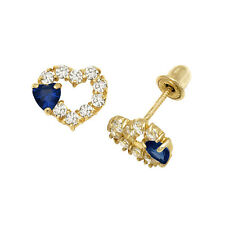 Blue Sapphire Heart On Heart CZ Stud Earrings Screw Back 14K Yellow Gold
