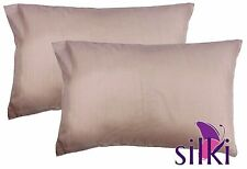 ROSE GOLD: 1 PAIR 100% Mulberry Pure Silk Pillow cases / cover  QUEEN STANDARD