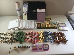 Lot Of DMC Floss Binder 150+ Skeins Of Floss Lizzie Kate Patterns Flour Sack Tea
