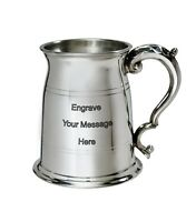 NEW Personalised 1 Pint Old London Polished Pewter Tankard Any Message Engraved