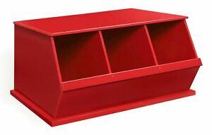 Badger Basket Three Bin Stackable Storage Cubby - Red