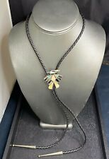 Vintage Native American Sterling Silver Turquoise Multi Colored Inlay Bolo Tie