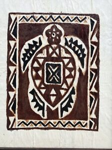 """Aboriginal """"Turtle"""" Painting Vintage Painted On A Woven Cloth Original A-1"""