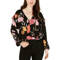 Guess Womens Printed Faux Wrap Long Sleeves Blouse Top BHFO 2242