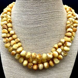 Unpolished 3 Strand Baltic White Yellow Amber Necklace Natural Amber Nugget Bead