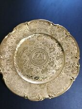 "Hutschenreuther Selb Bavaria 11"" 50th Anniversary Plate 22K Gold Hand Decorated"