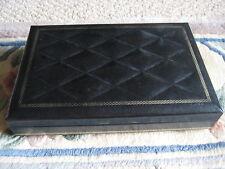 "Vintage Swank Design Philippe Black Leather Jewelry Box, 9"" X 6"" X 1 1/2"""