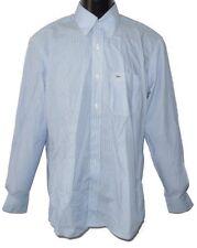 Lacoste Herren Langarm Hemd Blau, Weiß gestreift Brusttasche Gr. M KW39