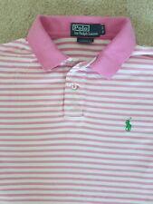 RALPH LAUREN Mens 100% Cotton Pink Striped Polo Shirt Size Medium
