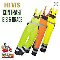 Portwest Hi Vis Contrast Waterproof Overall Bib and Brace Genuine Workwear S488