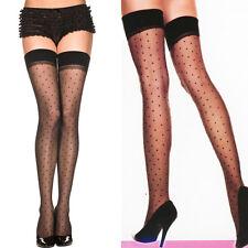 Sheer Thigh High Hi Stockings Wide No Slip Top Tiny Polka Dot Costume Cosplay OS