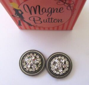 Magnetic Buttons -set of 2- RHINESTONE CLUSTER round- silver use on scarf hat