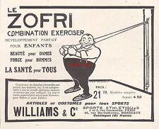 Publicité Appareil de Musculation WILLIAMS Body vintage print ad 1913 -3j