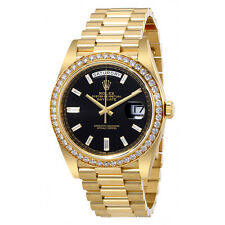 Rolex Oyster Perpetual Day-Date Black Dial Automatic Mens 18 Carat Yellow Gold P