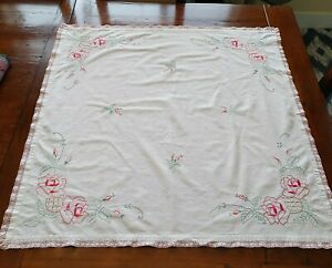 "Vintage Linen Hand Embroidered Tablecloth Red Tea Rose Crochet Trim 34"" Square"