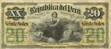 Peru 20 Soles Currency Banknote 1879 XF/AU
