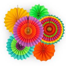 Fiesta Paper Fan Decoration 6 Colorful Fans Southwestern Cinco de Mayo Festive