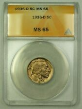 1936-D Buffalo Nickel 5c ANACS MS-65 (A) (WW)