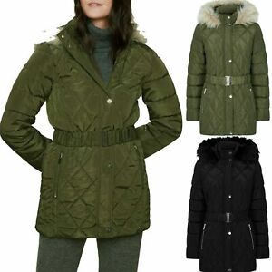 New Womens Hooded Padded Jacket Faux Fur Quilted Belted Ladies Coat Ex-Store DP