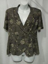 JBS LTD Size 6 Floral Pinstripe Button Front Short Sleeve Blouse Top