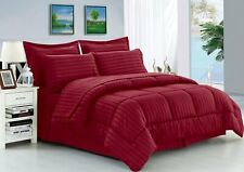 Hotel 200 GSM Down Alternative Comforter+Sheet Set Burgundy Striped King Size