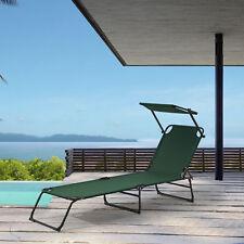 [casa.pro]® chaise longue 190cm vert foncé toile chaise longue de jardin plage