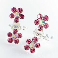 MINI Hair Claw Clip Rhinestone Crystal Hairpin Bridal Wedding Flower Pink 06