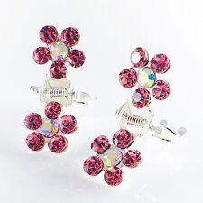 MINI Hair Claw Clip Rhinestone Crystal Hairpin Bridal Wedding Flower Pink 06