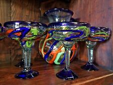 Mexican Glassware-Multi Colored Swirl Margarita Pitcher/6 Glasses - Free Freight