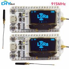 """2Pcs 915MHz SX1276 ESP32 LoRa 0.96"""" Blue OLED Display Bluetooth WIFI Lora Module"""