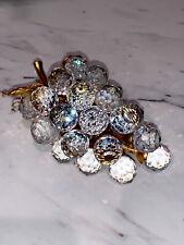 Swarovski Crystal Grapes Gold Leaves 29 Grapes Cluster Fruit