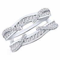 1/4Ct Round White Real Diamond 14K White Gold Enhancer Guard Wedding Ring -IGI-
