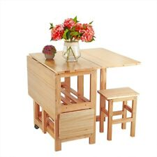 Folding Drop Leaf Butterfly Dining Table and 4 Chairs Set Waxed Pine Solid Wood